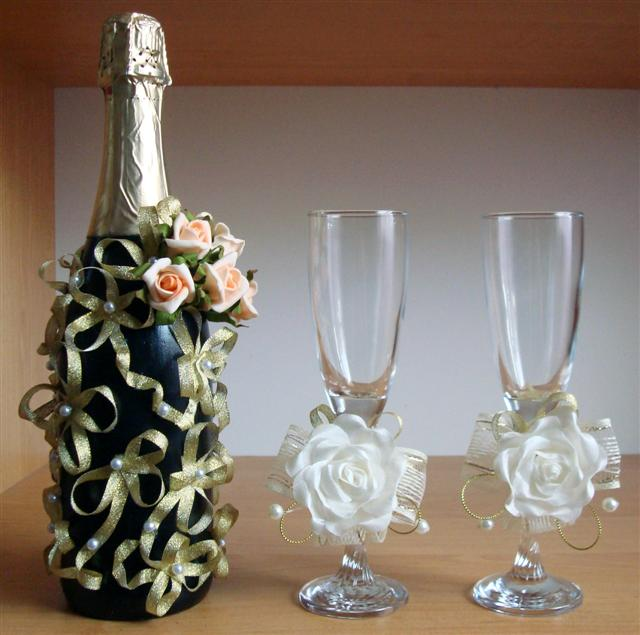 Шампанское и бокалы для свадьбы своими руками фото фото 8